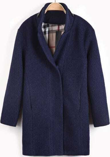 Navy Long Sleeve Leather Embellished Woolen Coat