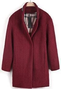 Red Long Sleeve Leather Embellished Woolen Coat