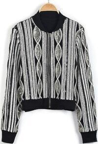 Black Long Sleeve Sequined Embroidered Crop Jacket