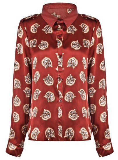 Red Lapel Long Sleeve Tigers Print Blouse