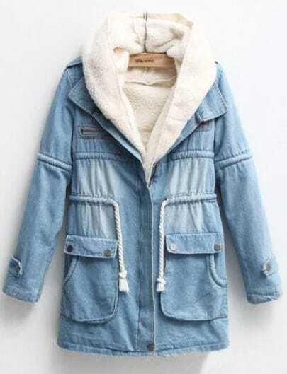 Blue Hooded Long Sleeve Wool Liner Denim Coat
