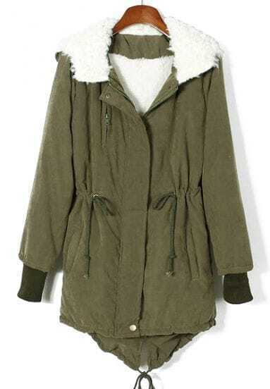 Army Green Hooded Long Sleeve Drawstring Parka