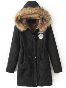 Black Faux Fur Hooded Drawstring Pockets Coat
