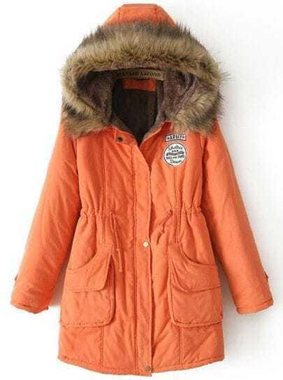 Abrigo con capucha pelo bolsillos-Naranja