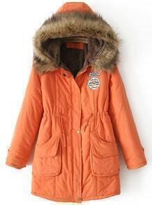Orange Faux Fur Hooded Drawstring Pockets Coat