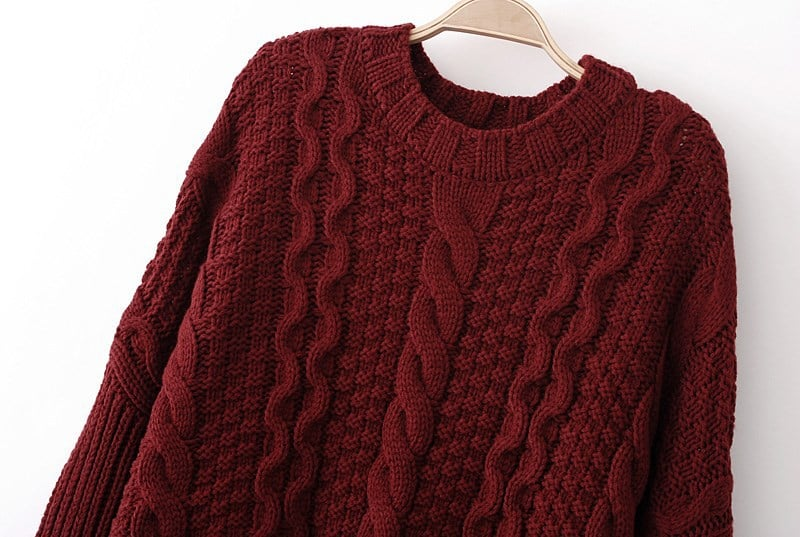 Wine Red Long Sleeve Cable Knit Loose Sweater -SheIn(Sheinside)