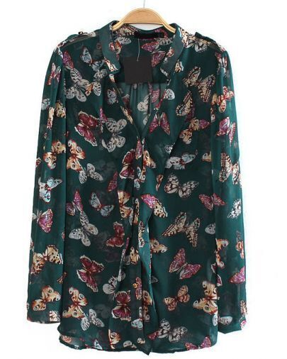 Green Long Sleeve Butterfly Print Blouse