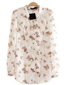 White Long Sleeve Butterfly Print Blouse