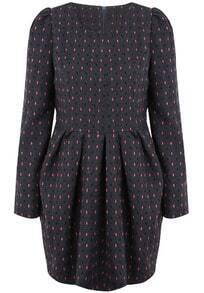 Dark Grey Long Sleeve Polka Dot Pleated Dress