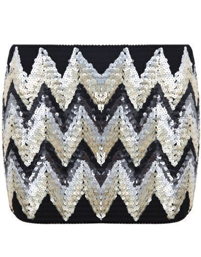 Black Sequined Zigzag Bodycon Skirt