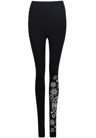 Black Skinny Star Print Leggings