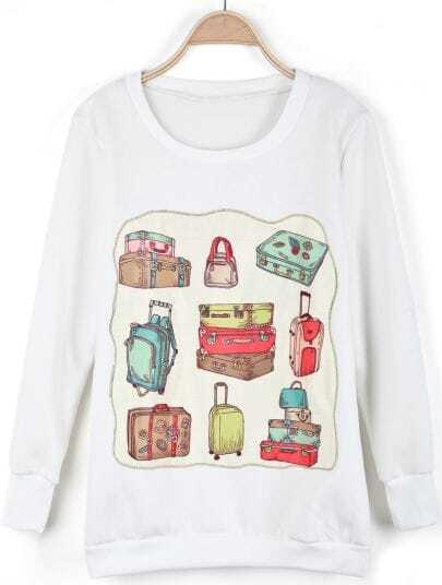 White Long Sleeve Sachet Print Sweatshirt