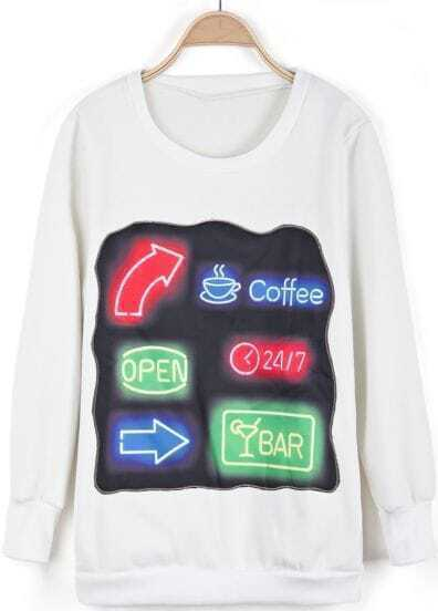 White Long Sleeve Signpost Print Sweatshirt