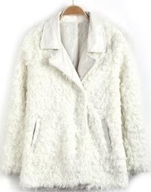 White Contrast PU Leather Lapel Long Sleeve Coat