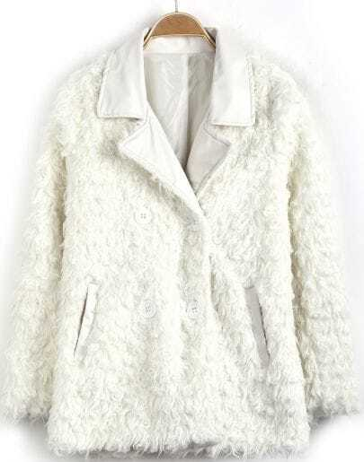 White Contrast PU Leather Lapel Long Sleeve Coat