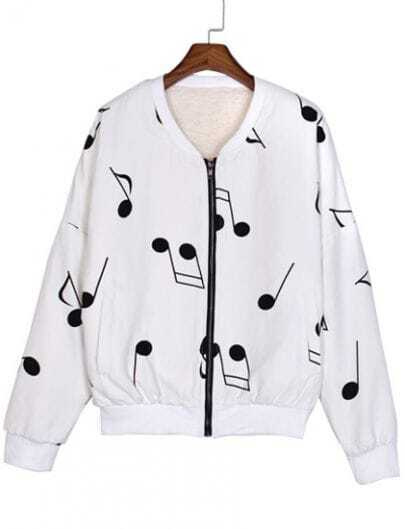 White Long Sleeve Note Print Jacket