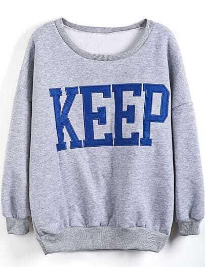 Grey Long Sleeve KEEP Print Loose Sweatshirt