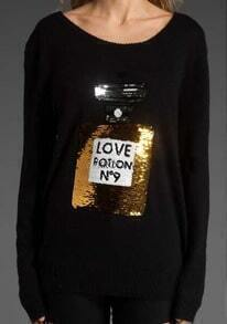 Black Long Sleeve No 9 Perfume Sequined Sweater