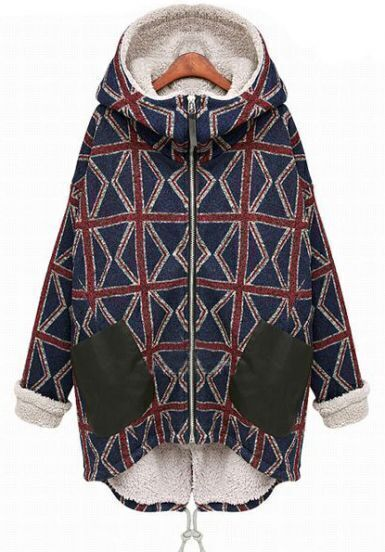 Blue Hooded Long Sleeve Plaid Pockets Parka