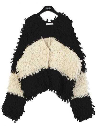 Black White Striped Long Sleeve Mohair Cardigan