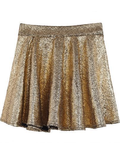 Gold Sequined Ruffle Skirt
