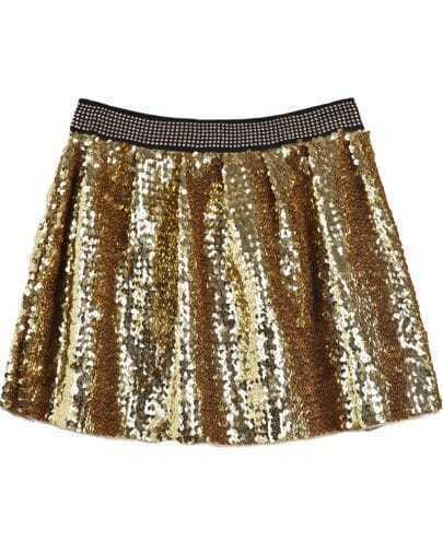 Gold Elastic Waist Sequined Pleated Skirt