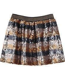 Gold Silver Elastic Waist Sequined Pleated Skirt