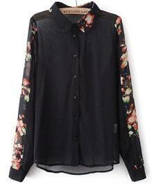 Black Lapel Contrast Floral Long Sleeve Blouse