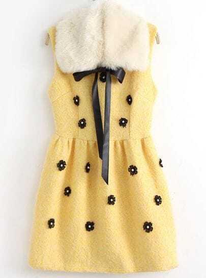 Yellow Faux Fur Collar Sleeveless Applique Dress