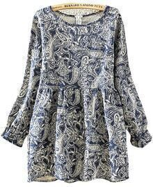 Navy Long Sleeve Floral Pleated Dress