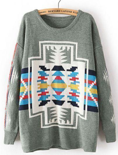 Green Long Sleeve Geometric Pattern Loose Sweater