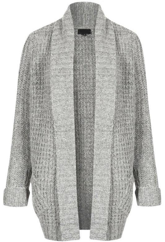Grey Scarf Collar Long Sleeve Knit Cardigan -SheIn(Sheinside)