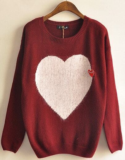 Red Long Sleeve Heart Pattern Loose Sweater
