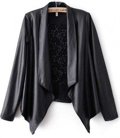 Black Contrast Floral Lace Back Leather Coat
