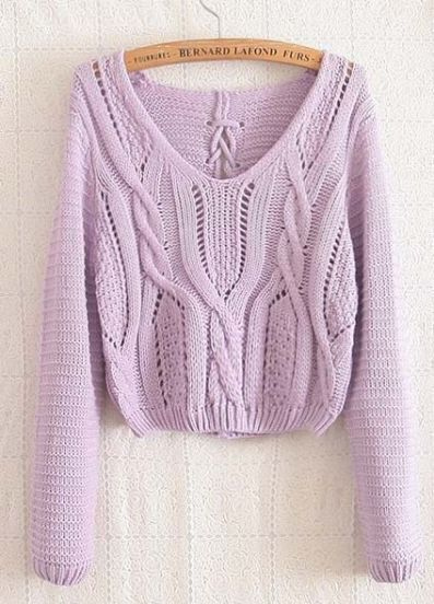 Light Purple Long Sleeve Cable Knit Lace Up Crop Sweater