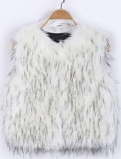 Chaleco pelaje sintético cuello redondo sin manga-Blanco