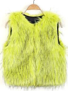 Yellow Round Neck Sleeveless Faux Fur Vest