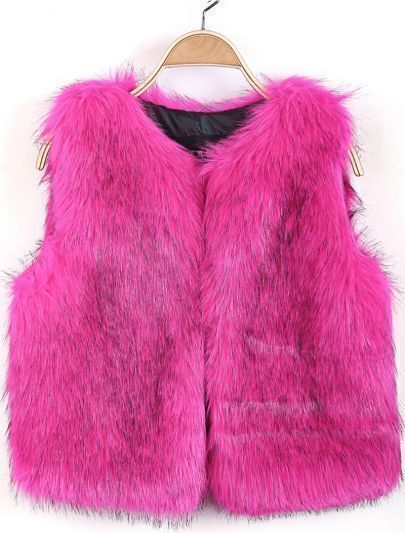 Rose Red Round Neck Sleeveless Faux Fur Vest