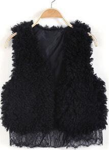Black Sleeveless Contrast Lace Faux Fur Vest