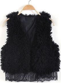 Black Sleeveless Contrast Lace Faux Fur Vest
