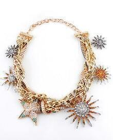 Gold Crystal Gold Stars Chain Necklace