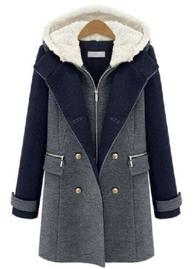 Grey Contrast Navy Hooded Buttons Woolen Coat