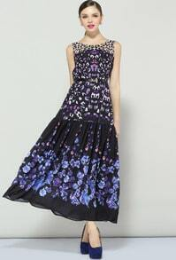 Purple Sleeveless Floral Pleated Long Dress