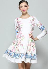 White Long Sleeve Floral Pleated Dress