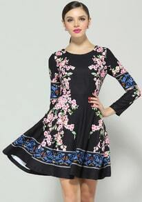 Black Long Sleeve Floral Pleated Dress