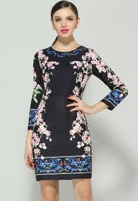Black Long Sleeve Floral Bodycon Dress