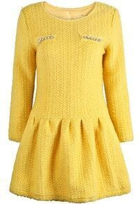 Yellow Long Sleeve Bead Pleated Dress