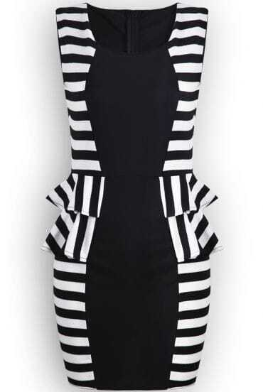 Black Sleeveless Striped Ruffle Bodycon Dress