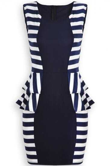 Navy Sleeveless Striped Ruffle Bodycon Dress
