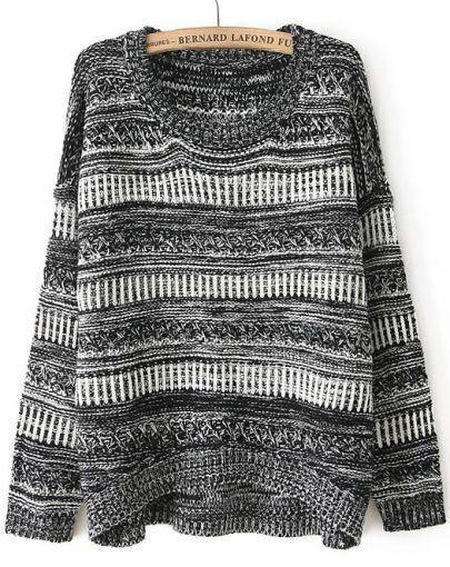 Grey Long Sleeve Striped Dipped Hem Sweater